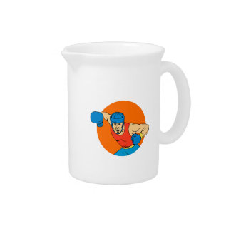 Amateur Boxer Overhead Punch Circle Drawing Pitcher