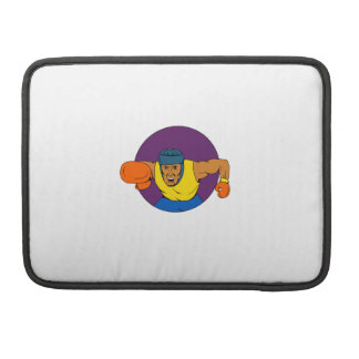 Amateur Boxer Punching Circle Drawing Sleeves For MacBooks