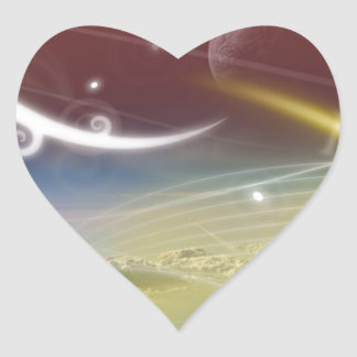 Amazing Abstract Design Heart Sticker