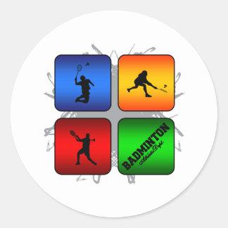 Amazing Badminton Urban Style Classic Round Sticker