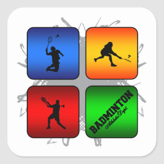 Amazing Badminton Urban Style Square Sticker