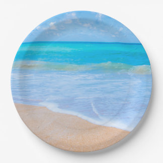 Amazing Beach Tropical Scene Photo Paper Plate