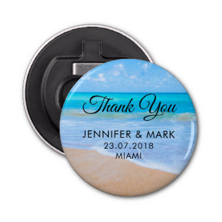 Amazing Beach Tropical Scene Photo Wedding Thanks Bottle Opener