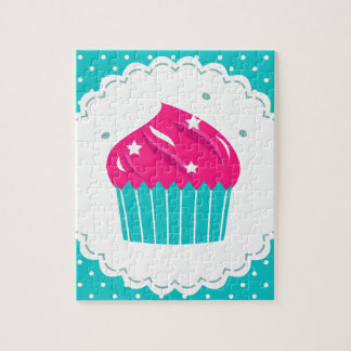 Amazing blue Cupcake pink blue Jigsaw Puzzle