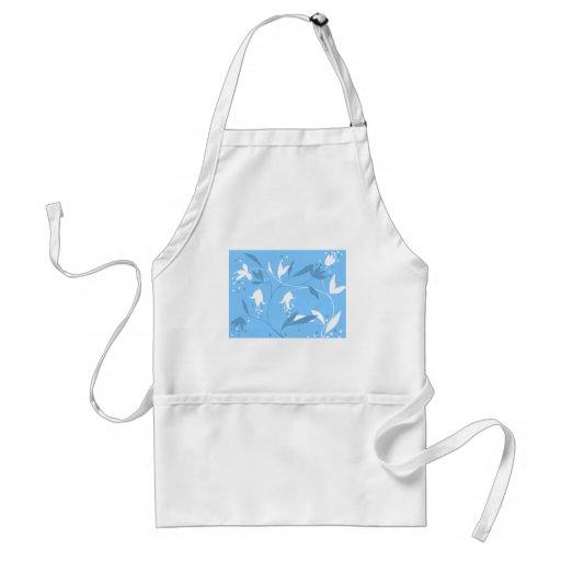 Amazing blue floral flower design apron