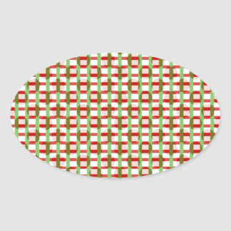 Amazing Checks Squares: Artist Created Pattern Oval Stickers