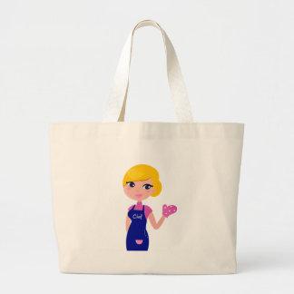 Amazing Chef Girl art illustration : TSHIRTS Large Tote Bag