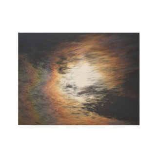 Amazing colored clouds wood poster