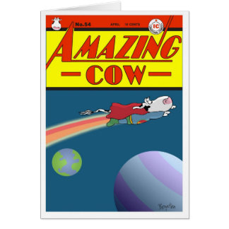 AMAZING COW GREETING CARD