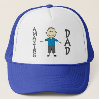 AMAZING DAD Fun Smiley Boy Stick Figure Trucker Hat