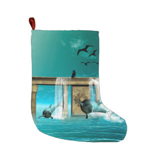 Amazing dolphins large christmas stocking
