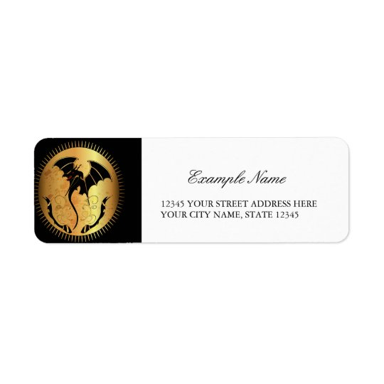 Amazing dragon in gold and black return address label