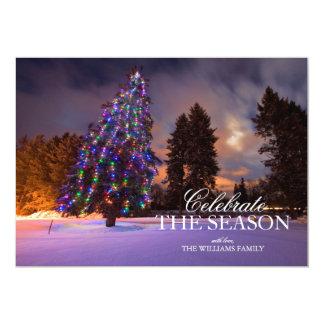 Amazing dusk light and Colored Christmas tree 13 Cm X 18 Cm Invitation Card
