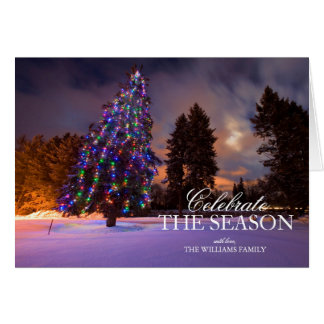 Amazing dusk light and Colored Christmas tree Greeting Card