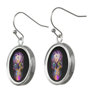 Amazing Floral Skull A Earrings