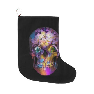 Amazing Floral Skull A Large Christmas Stocking