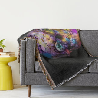 Amazing Floral Skull A Throw Blanket