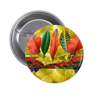 AMAZING Golden Flower n Leaf Pattern Pinback Button