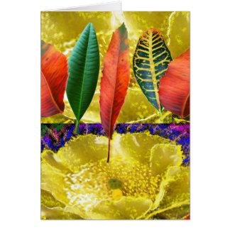 AMAZING Golden Flower n Leaf Pattern Greeting Card