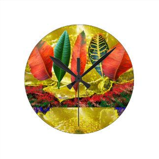 AMAZING Golden Flower n Leaf Pattern Round Wallclock