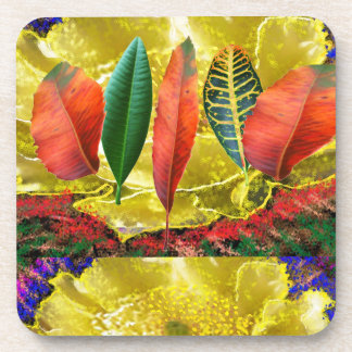 AMAZING Golden Flower n Leaf Pattern Drink Coaster