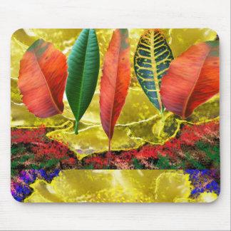 AMAZING Golden Flower n Leaf Pattern Mouse Pad