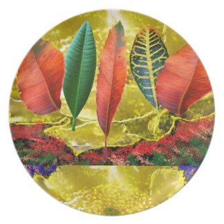 AMAZING Golden Flower n Leaf Pattern Plates