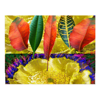 AMAZING Golden Flower n Leaf Pattern Postcard