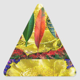 AMAZING Golden Flower n Leaf Pattern Triangle Stickers