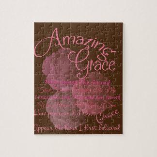 Amazing Grace Beautiful Pink Rose Typography Jigsaw Puzzle
