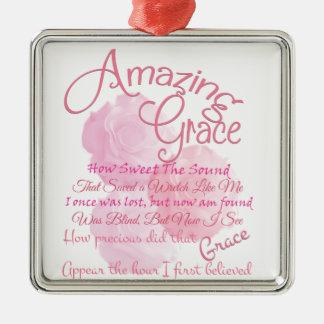 Amazing Grace Beautiful Pink Rose Typography Metal Ornament