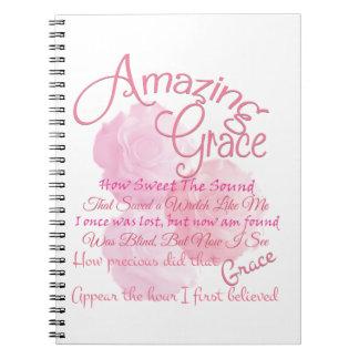 Amazing Grace Beautiful Pink Rose Typography Notebooks