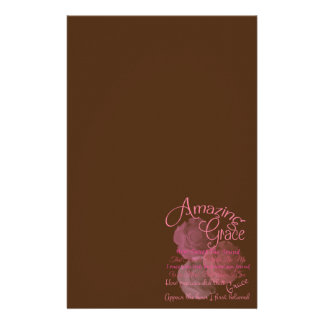 Amazing Grace Beautiful Pink Rose Typography Stationery