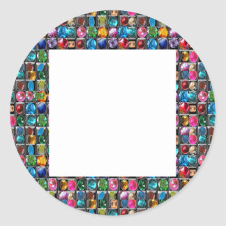 Amazing Grace: BORDER FRAME GEM PEARL JEWELS Classic Round Sticker