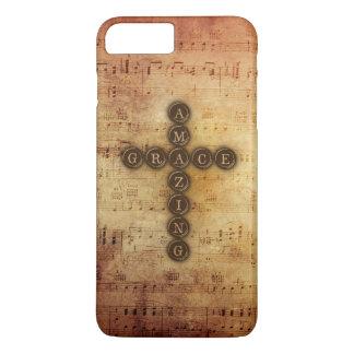 Amazing Grace Cross on Aged Vintage Sheet Music iPhone 7 Plus Case
