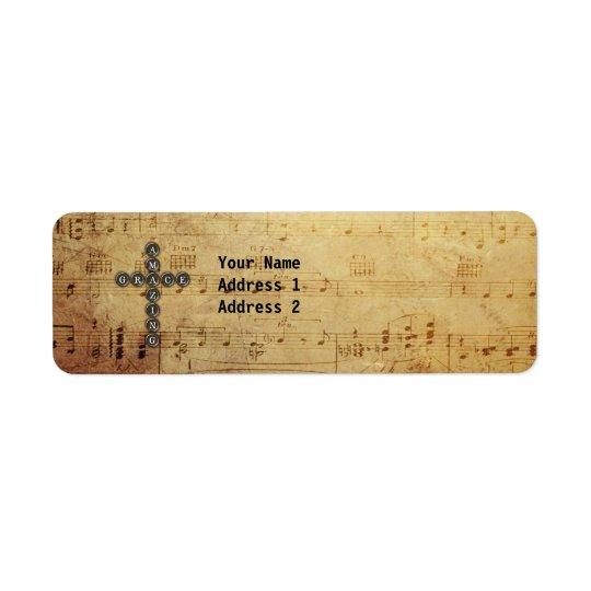 Amazing Grace Cross on Vintage Music Sheet Custom Return Address Label