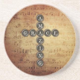 Amazing Grace Cross on Vintage Music Sheet Drink Coasters