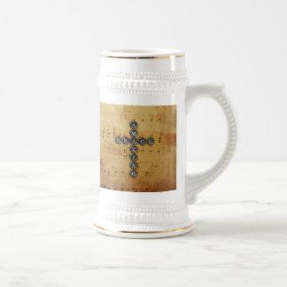 Amazing Grace Cross on Vintage Music Sheet Mugs