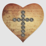 Amazing Grace Cross on Vintage Music Sheet Stickers
