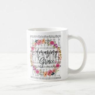 Amazing Grace Floral Sheet Music Hymn Mug