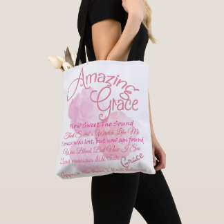 Amazing Grace in pink with roses Tote Bag