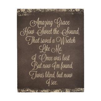 Amazing Grace Lyrics Chalkboard Wood Canvases