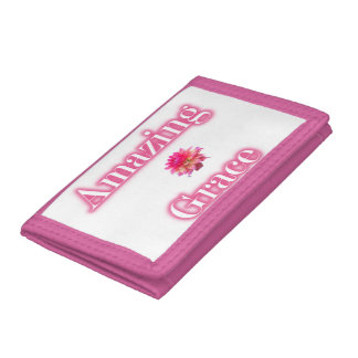 Amazing Grace Pink TriFold Nylon Wallet