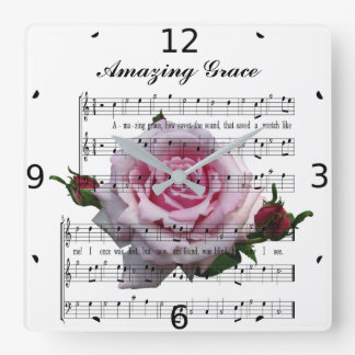 AMAZING GRACE SQUARE WALL CLOCK