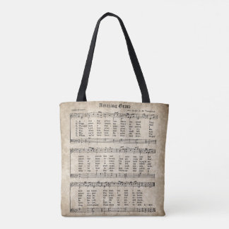 Amazing Grace Vintage Hymn Music Tote Bag
