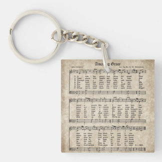 Amazing Grace Vintage Hymn Sheet Music Keychain