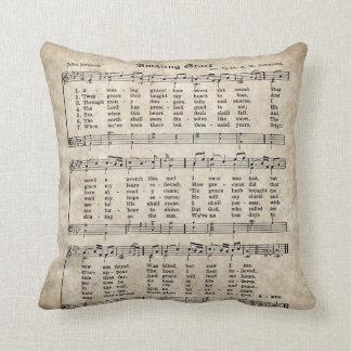 Amazing Grace Vintage Style Hymn Pillow