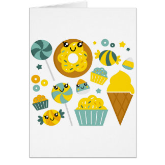 Amazing hand-drawn Donuts Illustrated Card