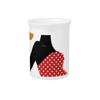 Amazing hand painted girl Red Pitcher
