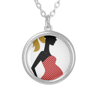 Amazing hand painted girl Red Silver Plated Necklace